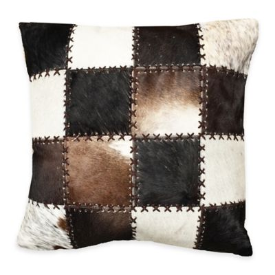 Patchwork Hair on Hide Decorative Throw Pillow in Brown