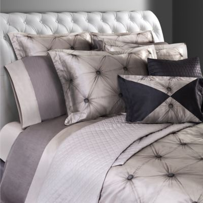 Villa Di Borghese Chesterfield Italian-Made Jacquard King Duvet Cover in Grey