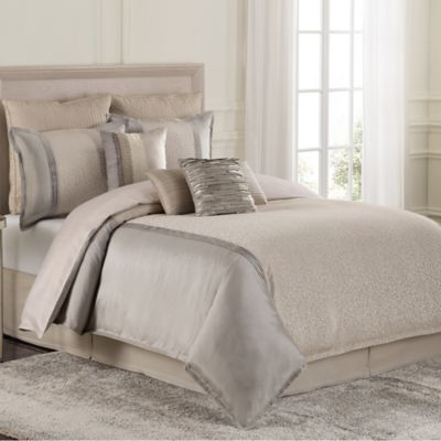 Raymond Waites Parker King Comforter Set in Grey/Tan