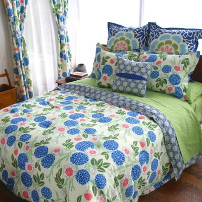Amy Butler by Welspun Kyoto Reversible King Duvet Cover in Blue/Green