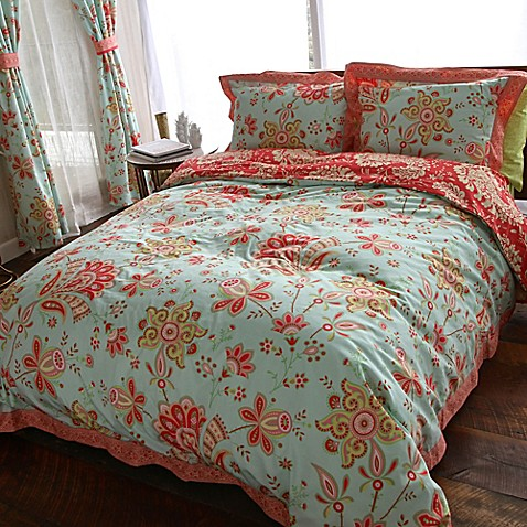 Amy Butler By Welspun Sari Bloom Reversible Duvet Cover Set In Turquoise Www