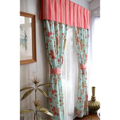 Amy Butler by Welspun Sari Bloom 84-Inch Window Panel Pair in Turquoise