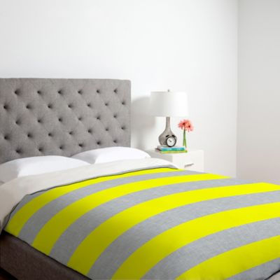 DENY Designs Holli Zollinger Bright Stripe Queen Duvet Cover in Yellow