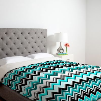DENY Designs Madart Inc. Turquoise Black White Chevron Twin Duvet Cover