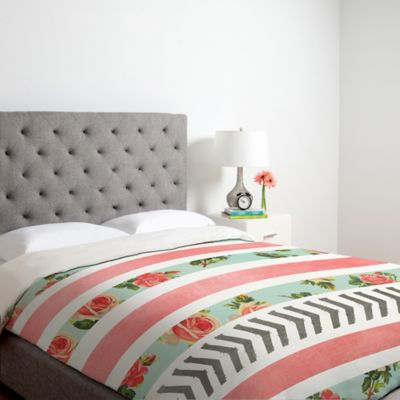 DENY Designs Allyson Johnson Floral Stripes And Arrows Queen Duvet Cover in Pink