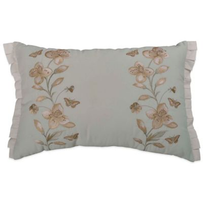 Williamsburg Grandiflora Floral Embroidered Oblong Throw Pillow in Glacier