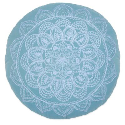 Under the Canopy® Lightworker Organic Cotton Circle of Light Round Throw Pillow in Teal