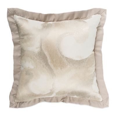 Raymond Waites Sawyer Metallic Square Throw Pillow in Taupe