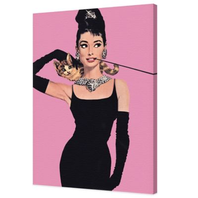 Audrey Hepburn with Pink Background Canvas Wall Art