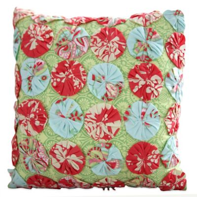 Amy Butler by Welspun Sari Bloom Square Throw Pillow in Turquoise