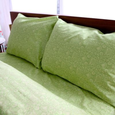 Amy Butler by Welspun Sari Bloom Queen Sheet Set in Green Floral