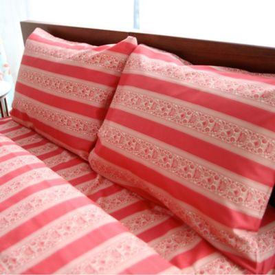Amy Butler by Welspun Sari Bloom California King Sheet Set in Red Stripe