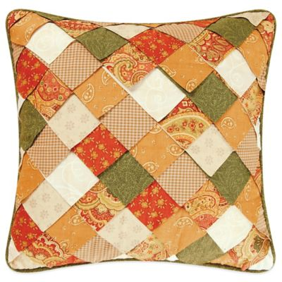 Chevron Nature Patchwork Square Throw Pillow