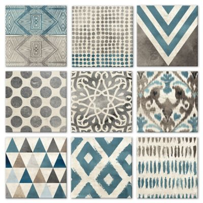 9-Piece Grey & Teal Geometric Tiles Wall Décor Set