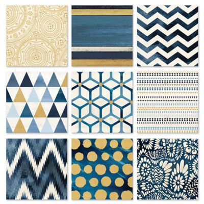 9-Piece Navy & Gold Geometric Tiles Wall Décor Set