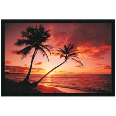 Tropical Beach Sunset Framed Print Wall Art