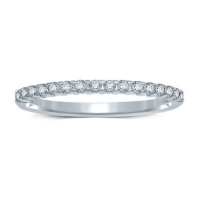 10K White Gold .14 cttw Prong-Set Diamond Size 7 Ladies' Wedding Band