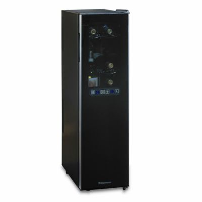 Wine Enthusiast® Silent 18-Bottle Dual-Zone Slimline Wine Refrigerator in Black