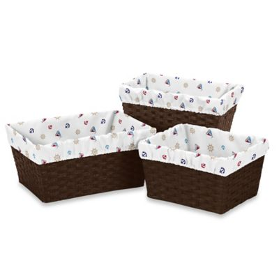 Sweet Jojo Designs Nautical Nights Print Basket Liners in White (Set of 3)