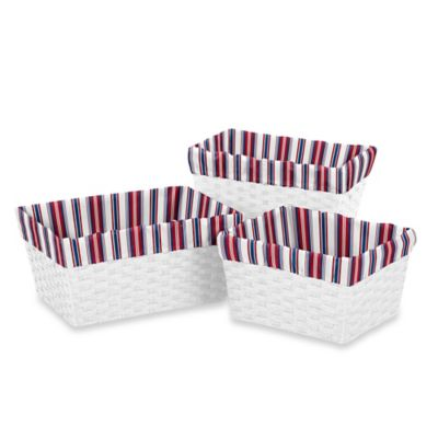 Sweet Jojo Designs Nautical Nights Striped Basket Liners in Red/Blue (Set of 3)