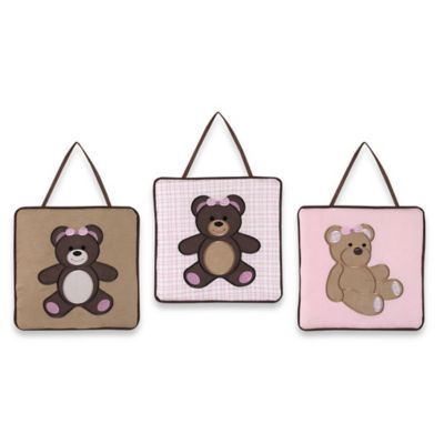Sweet Jojo Designs Teddy Bear 3-Piece Wall Hanging Set in Pink/Chocolate