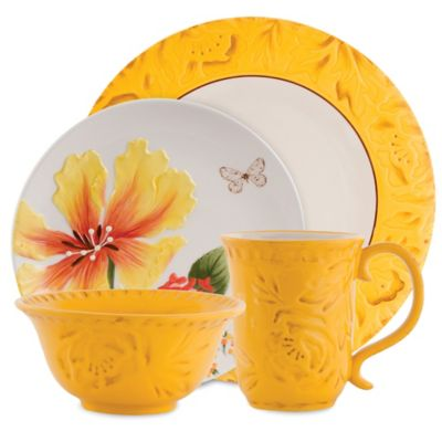 Fitz and Floyd® Flower Market 4-Piece Place Setting in Naples Yellow