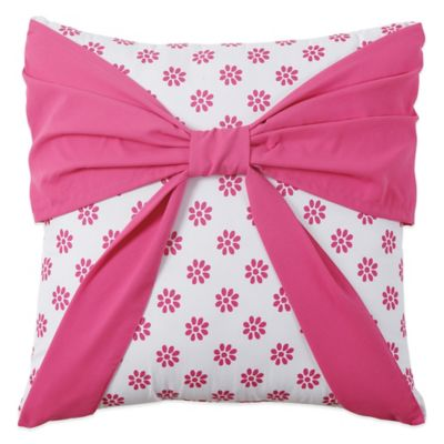 Amanda Bow Square Throw Pillow in Pink