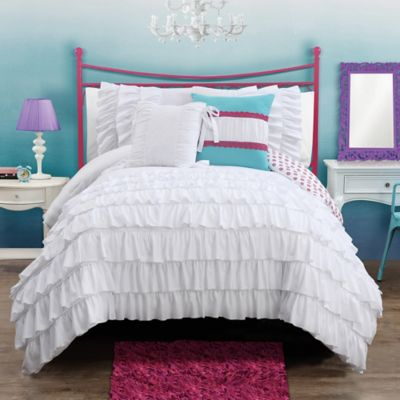 Amanda Reversible 2-Piece Twin Comforter Set in Aqua
