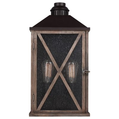 Feiss Lumiere Wall-Mount 19-Inch Outdoor Lantern in Dark Weathered Oak
