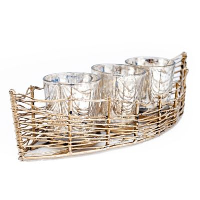 Iron Boat with 3 Mercury Glass Candle Holders