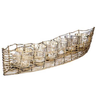 Iron Boat with 6 Mercury Glass Candle Holders