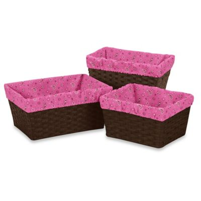 Sweet Jojo Designs Cowgirl 3-Piece Bandana Print Basket Liner Set in Pink
