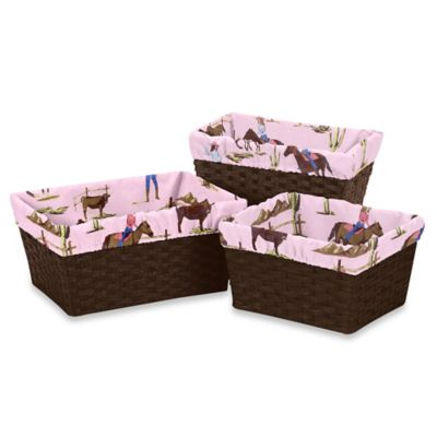 Sweet Jojo Designs Cowgirl 3-Piece Cowgirl Print Basket Liner Set in Pink