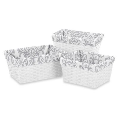 Sweet Jojo Designs Elizabeth Basket Liners in Grey (Set of 3)