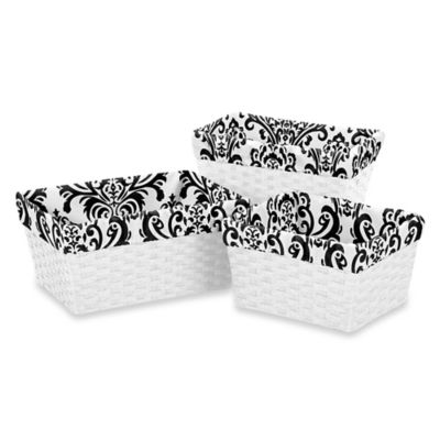 Sweet Jojo Designs Damask Basket Liners in Black/White (Set of 3)