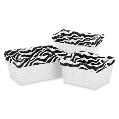 Sweet Jojo Designs Funky Zebra Basket Liners in Pink