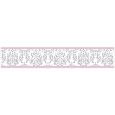 Sweet Jojo Designs Elizabeth Wallpaper Border in Pink/Grey
