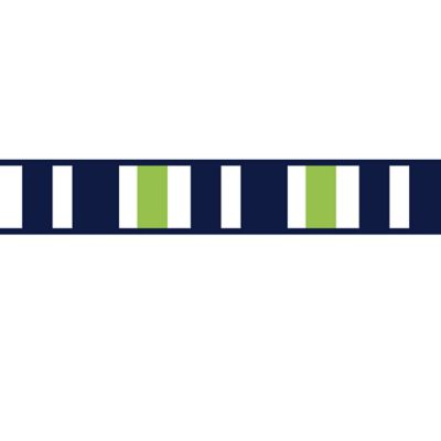 Sweet Jojo Designs Navy and Lime Stripe Wallpaper Border