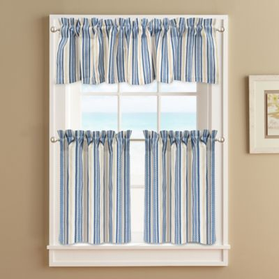 Ropes 24–Inch Window Curtain Tier Pair in Blue