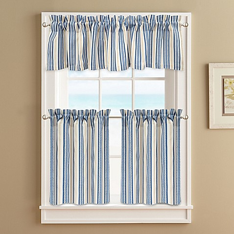 Buy Ropes 36 Inch Window Curtain Tier Pair In Blue From Bed Bath Beyond