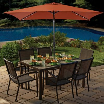 11-Foot Rectangular Solar Aluminum Patio Umbrella in Border Stripe