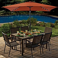 11-Foot Rectangular Solar Aluminum Patio Umbrella