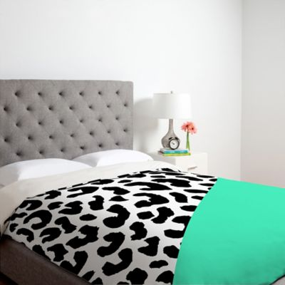 DENY Designs Rebecca Allen Leopard And Mint King Duvet Cover in Green