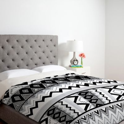 DENY Designs Kris Tate Wipil 3 Queen Duvet Cover in Black