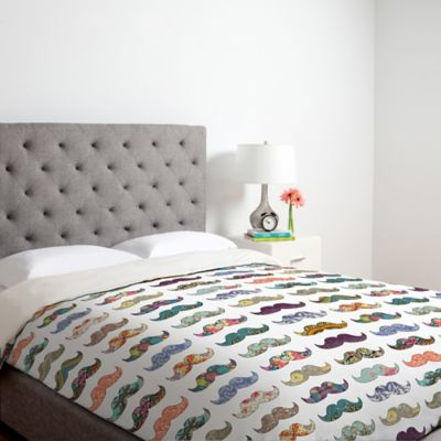 DENY Designs Bianca Green Mustache Mania Queen Duvet Cover in White