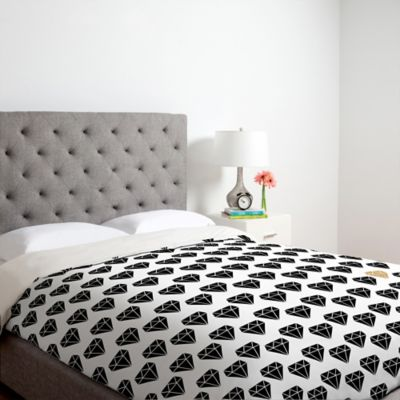 DENY Designs Allyson Johnson Shine Brighter Queen Duvet Cover in Black
