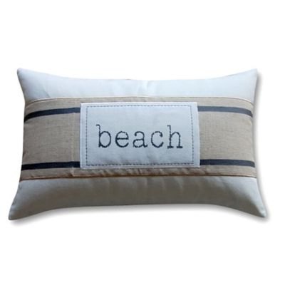 "Banded ""Beach"" Oblong Throw Pillow in Ivory"
