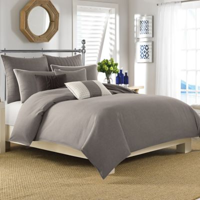 Nautica® Longitude Twin Duvet Cover Set in Mocha