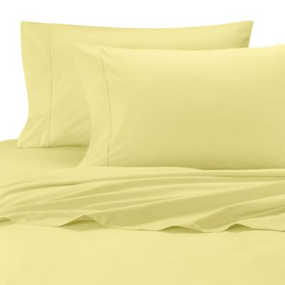 Wamsutta® Cool Touch Percale Egyptian Cotton Olympic Queen Fitted Sheet in Yellow