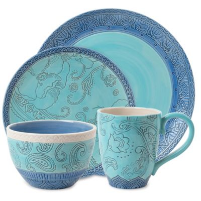 Fitz and Floyd® Paisley Park 4-Piece Place Setting in Blue